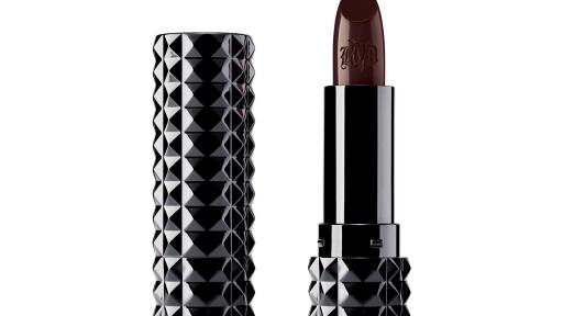 Kat Von D Beauty's creamy, unbelievably pigmented, Studded Kiss Crème in Vampira (satin-matte deep reddish burgundy) is featured in the 2019 Sephora Birthday Gift mini-set. Full size shown.