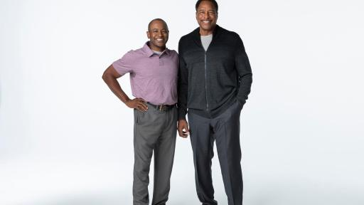 two men standing Don Baylor Jr. and Dave Winfield