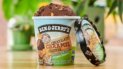 Ben & Jerry's non-dairy Chocolate Caramel Cluster is chocolate with peanuts, fudge chunks and salted caramel swirls.