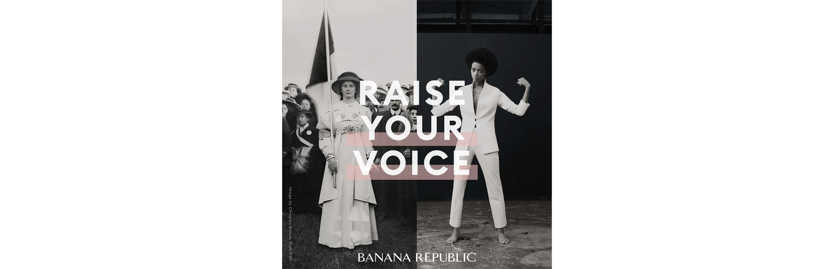 "Black and white photo of women with tagline, ""Raise your voice"""