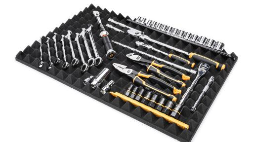 The GEARWRENCH Flex Foam Universal Tool Storage System provides an exceptional tool storage solution without having to customize to each individual tool.