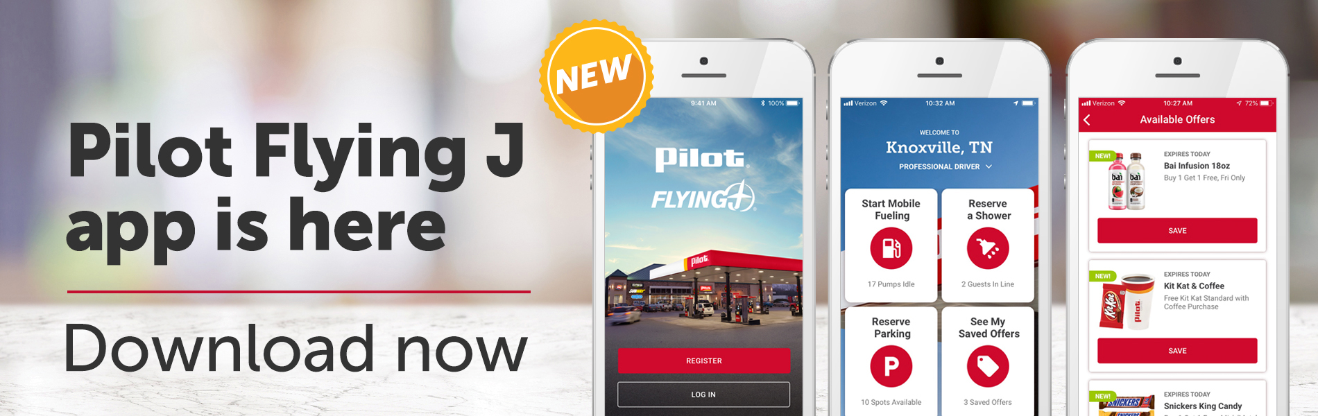 Pilot Flying J app displayed on mobile devices. Text reads: Pilot Flying J app is here. Download now.
