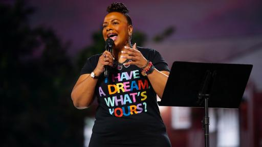 Rev. Bernice King delivers a monologue about her father, Dr. Martin Luther King Jr., and his vision of the Beloved Community at the inaugural Beloved Benefit at Mercedes-Benz Stadium on Thursday, March 21, 2019, in Atlanta.