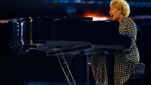 "British singer-songwriter Emeli Sandé performed her song, ""Hope,"" inspired by Dr. Martin Luther King Jr. at the inaugural Beloved Benefit at Mercedes-Benz Stadium on Thursday, March 21, 2019, in Atlanta."