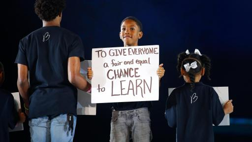 Westside students from Hollis Academy share their dreams during a powerful performance by Emeli Sandé at the inaugural Beloved Benefit at Mercedes-Benz Stadium on Thursday, March 21, 2019, in Atlanta.