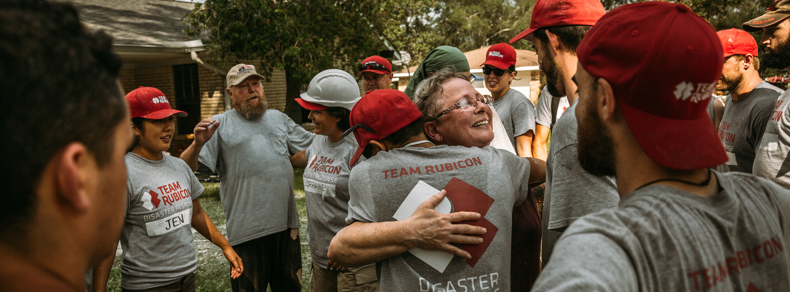 Disaster Response workers celebrating together