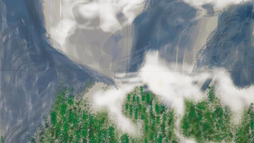 iPad drawing of Yosemite