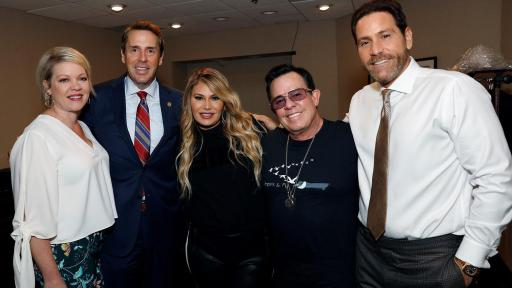 Congressman Mark & Kelly Walker are photographed backstage with Market America | SHOP.COM Senior Executive VP, Loren Ridinger, Chairman & CEO, JR Ridinger and Market America President & COO, Marc Ashley at #MAIC2019.