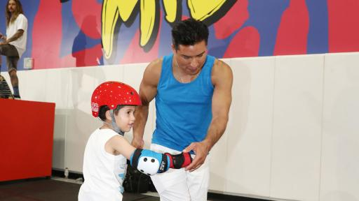 Mario Lopez and son Nico skating