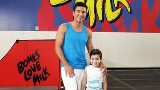 Mario Lopez and son, Nico, at the @BonesLoveMilk Shredquarters