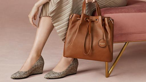 Cole Haan Grand Ambition Wedge (75MM) in Viper Print Leather, $180; Grand Ambition Bucket Bag in British Tan Coming in September!