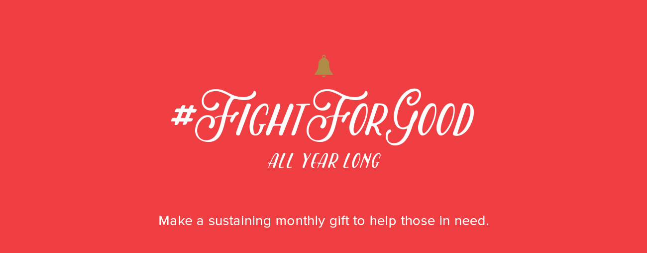 "Red banner with text: ""#FightForGood"""