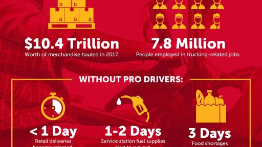 "Statistics about the trucking industry and the potential impacts of a world without professional drivers. Source: ATA, American Trucking Trends 2019; ""When Trucks Stop, America Stops"", 2015"