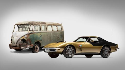 Volkswagen Deluxe Station Wagon and Chevrolet Corvette. Photo credit: Historic Vehicle Association