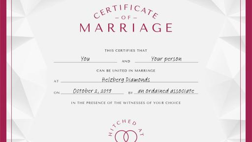 Helzberg Certificate of Marriage