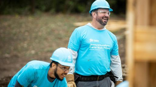 Country music superstar and Habitat Humanitarian Garth Brooks works alongside other volunteers at the 36th Habitat for Humanity Jimmy & Rosalynn Carter Work Project in Nashville on Monday, Oct. 7.