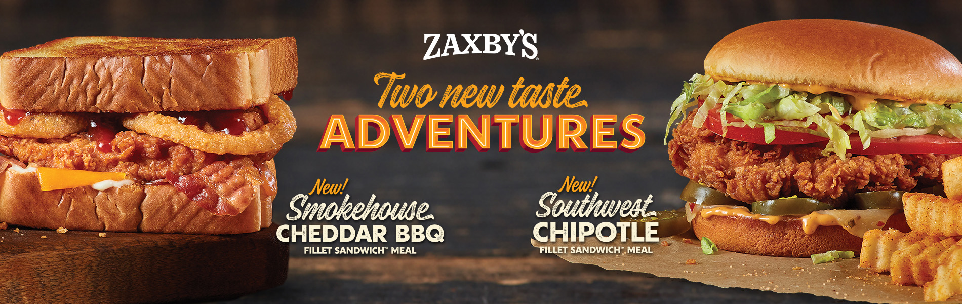 banner of two Zaxby sandwhiches