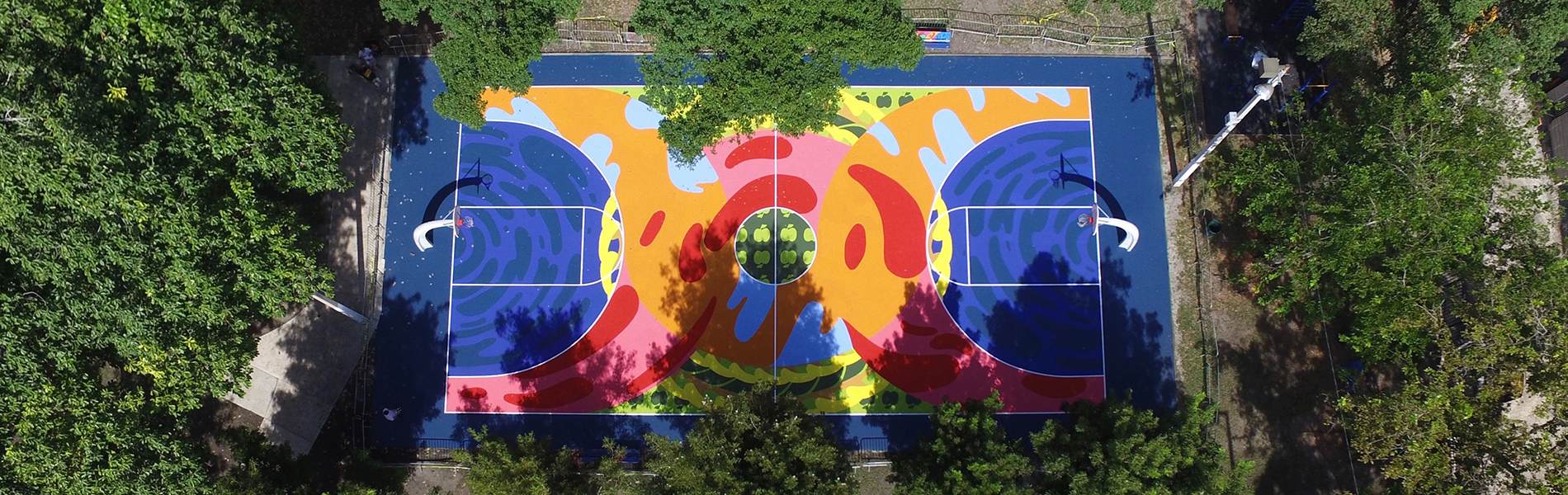 A painted basketball court