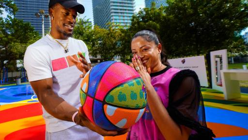 Jimmy Butler and D'Ana of COVL join Crown Royal Regal Apple to give back to the Miami community with The Royal Court at Miami Art Week (Photo by Jack Dempsey for Crown Royal)