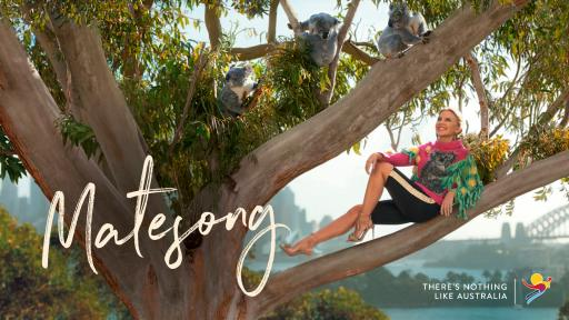 Tourism Australia's 'Matesong' campaign featuring Kylie Minogue in a tree with Koalas