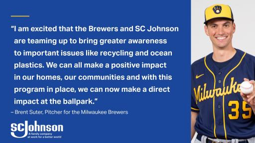 Pitcher Brent Suter is excited about the SC Johnson and Milwaukee Brewers partnership.