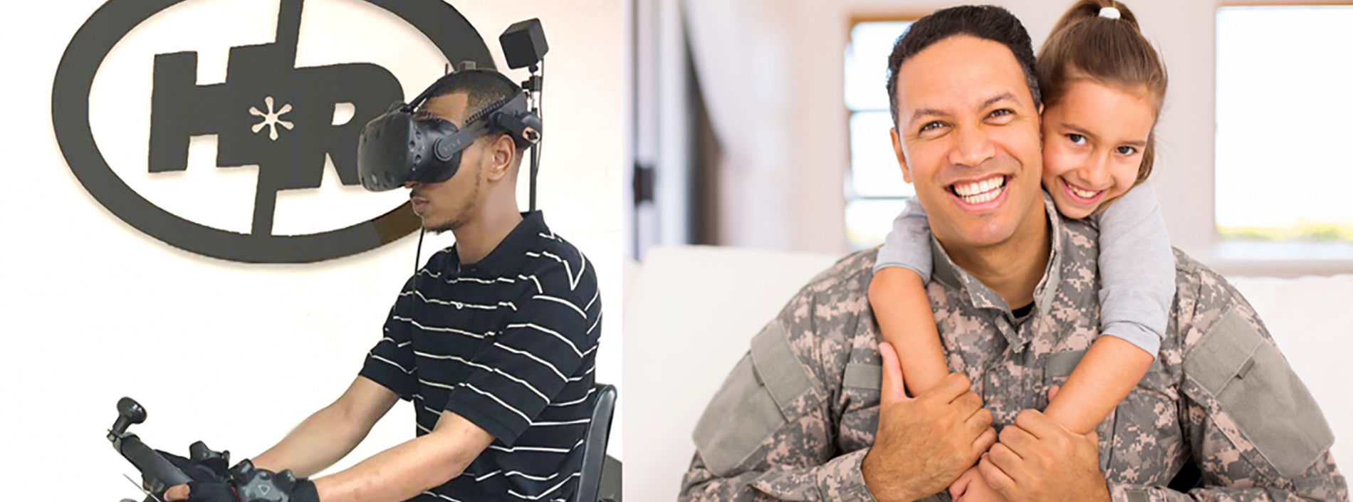 One the left half of the image, a man training with virtual reality; on the right half of the image, a military man holding his daughter