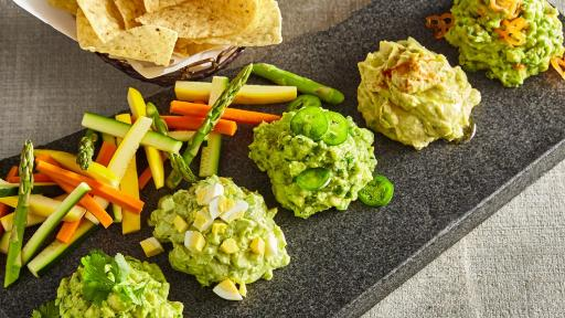 Five different types of guacamole.