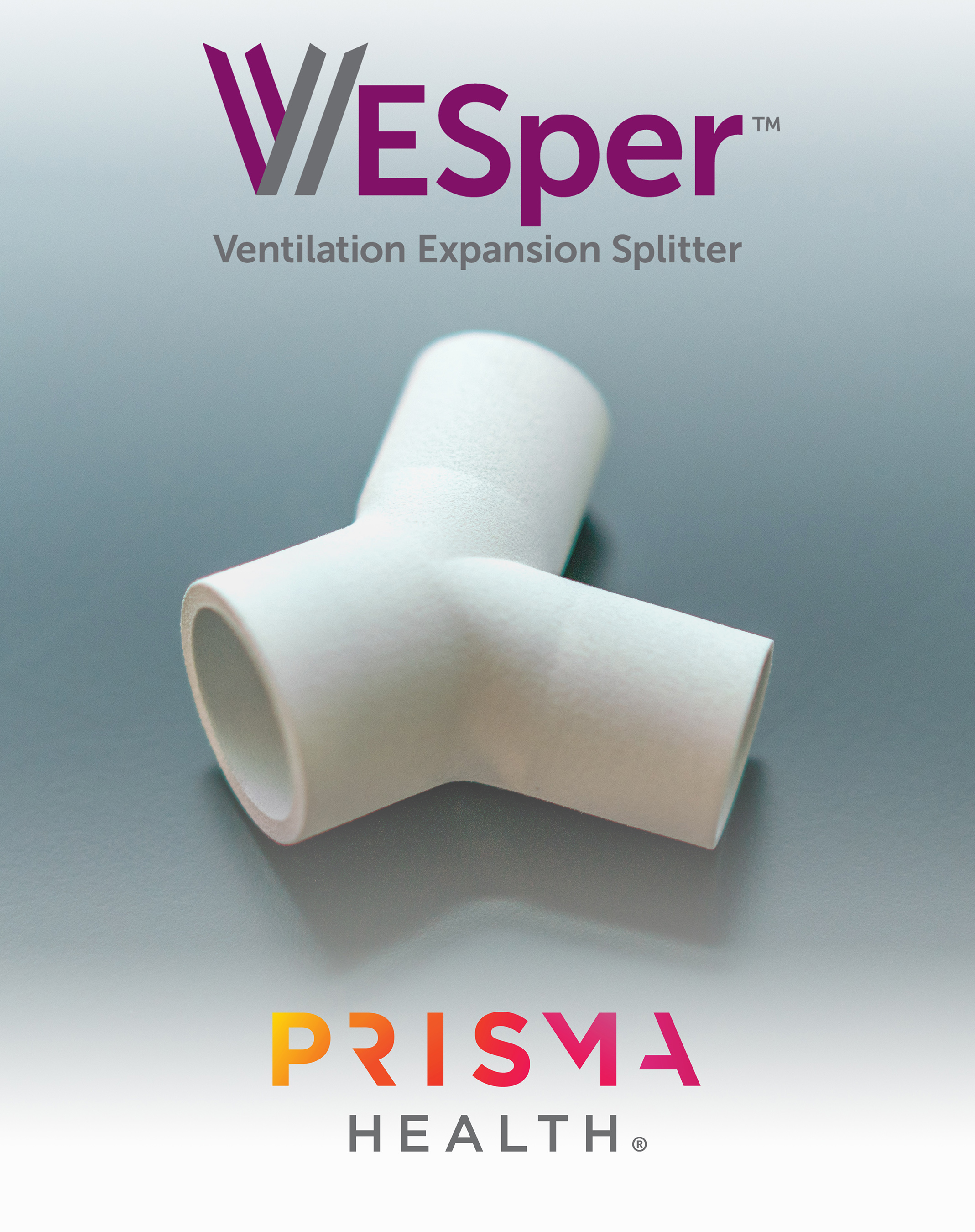 VESper logo and Prisma Health logo with VESper Ventilation Expansion Splitter product