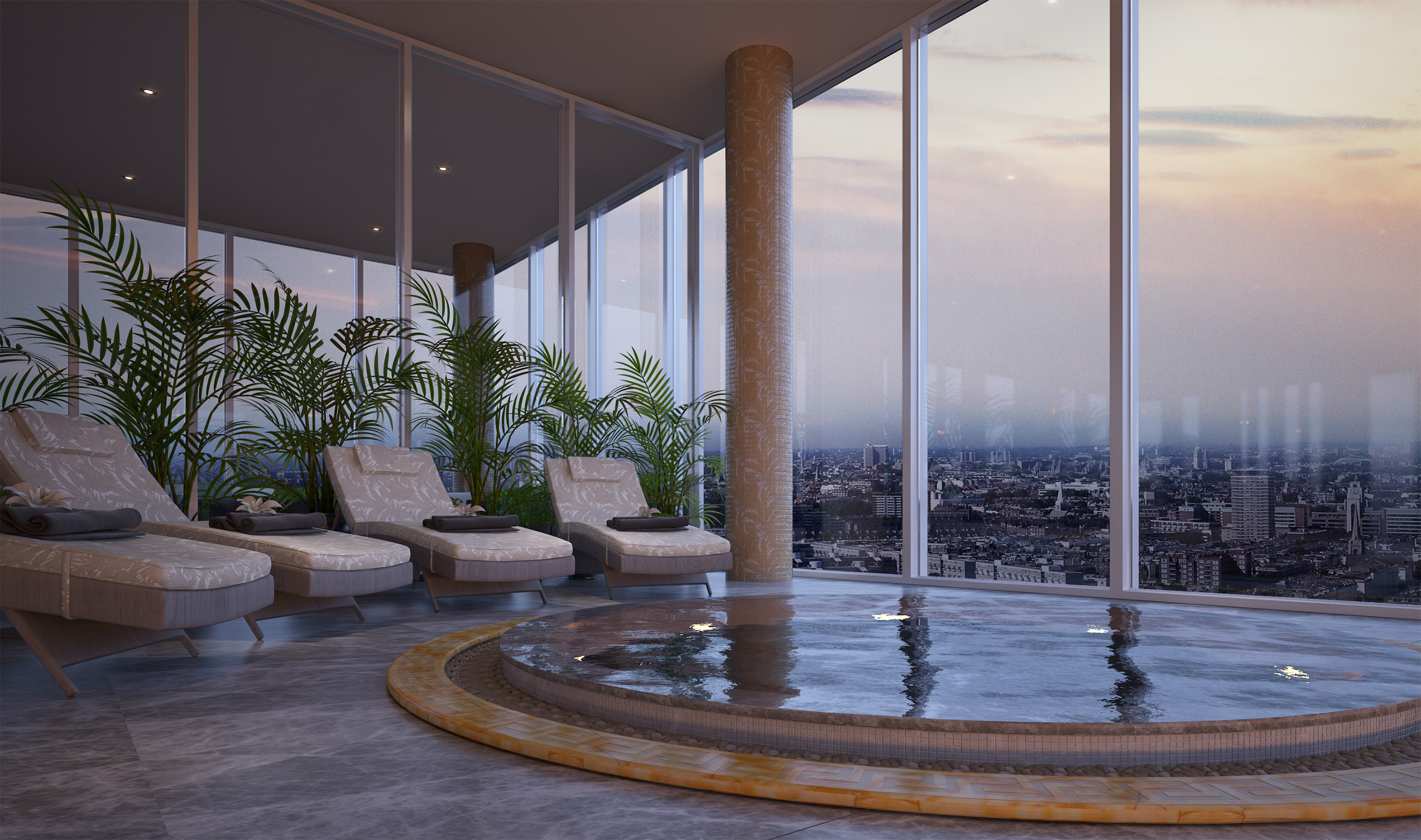 Aykon nine elms london s first fashion branded for Versace pool design