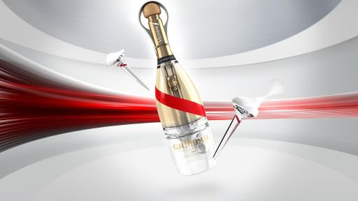 Bottle of Mumm Grand Cordon Stellar With Two Glasses and Background Design