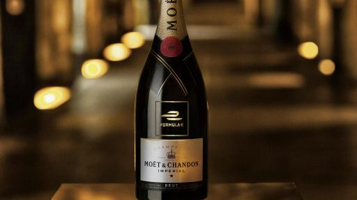 A bottle of Moët & Chandon champagne featuring the Formula E logo in the Maison's legendary cellars below the streets of Epernay, France.