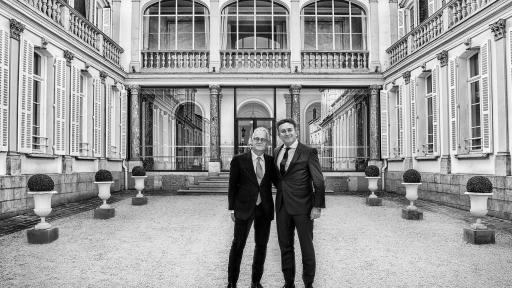 Stéphane Baschiera, President & CEO of Maison Moët & Chandon, with Alejandro Agag, Founder & CEO of Formula E, in front of the Trianon at Moët & Chandon's estate in Epernay, France.