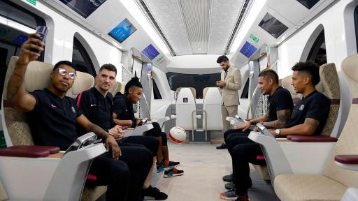 Image of Paris Saint-Germain Football players on the Metro in Qatar.