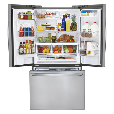 LG's super-capacity French-door refrigerator helps consumers better organize and store their groceries saving them time and energy with fewer trips to the store