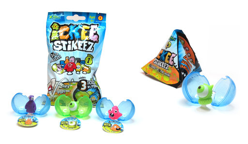 The whimsical, wacky, hilariously disgusting ICKEE Stikeez® collectible figures from Zing® Toys are available in single and triple packs.