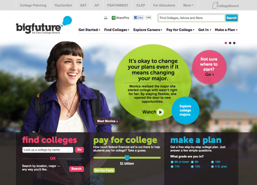 Homepage of BigFuture