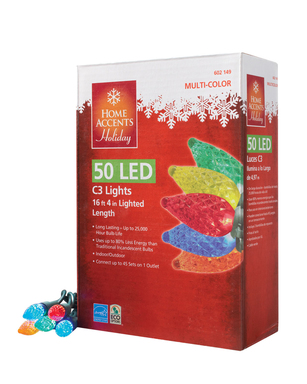 Home Accents Holiday LED light strings use up to 80 percent less energy than traditional incandescent bulbs.