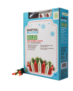 Martha Stewart Living LED light strings feature warm white, flicker free lights with continuous on technology. New colors this year include purple and red/white.
