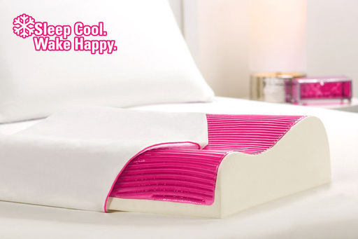 Frosted Pink Waves Hydraluxe Cooling Contour Pillow. Sleep Cool. Wake Happy.