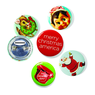 jcpenney is distributing over 80 million buttons this holiday season for a one in four chance of winning a gift. A unique code on the back can be entered online at jcp.com/christmas.