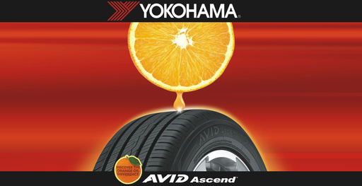 Yokohama's AVID Ascend tire combines the oil from orange peels with natural rubber to create a compound that improves performance characteristics.