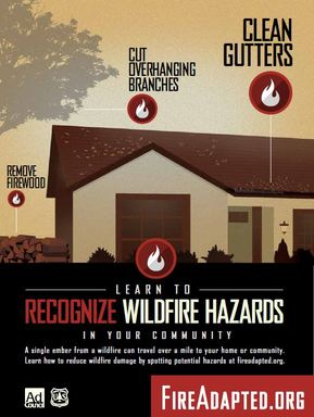 FireAdapted.org Learn to Recognize Wildfire Hazards poster.