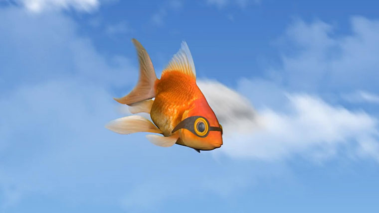 Goldie the goldfish flying through the sky wearing goggles