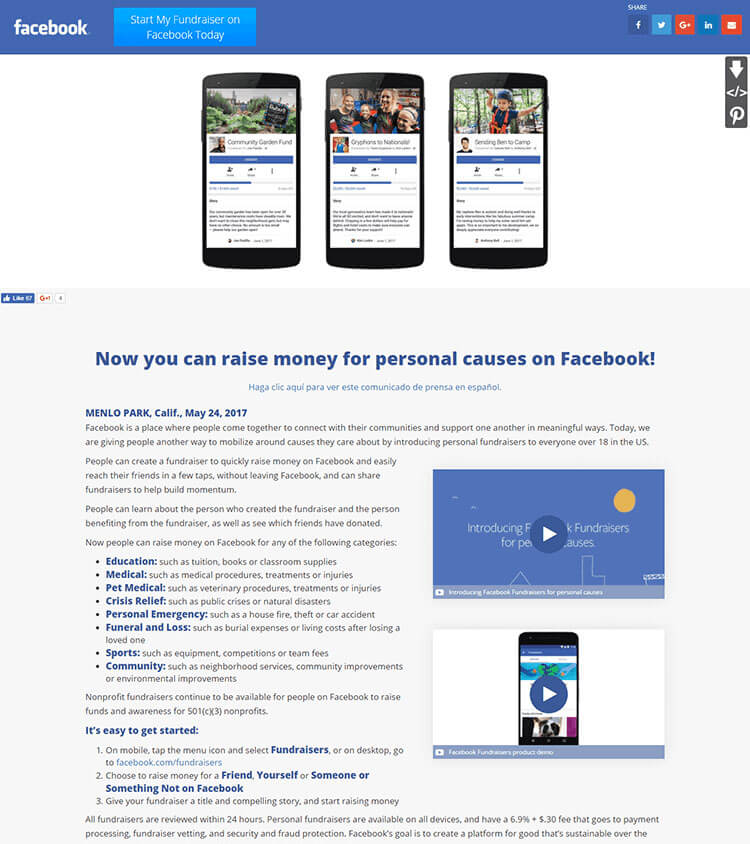 facebook personal fundraisers MNR