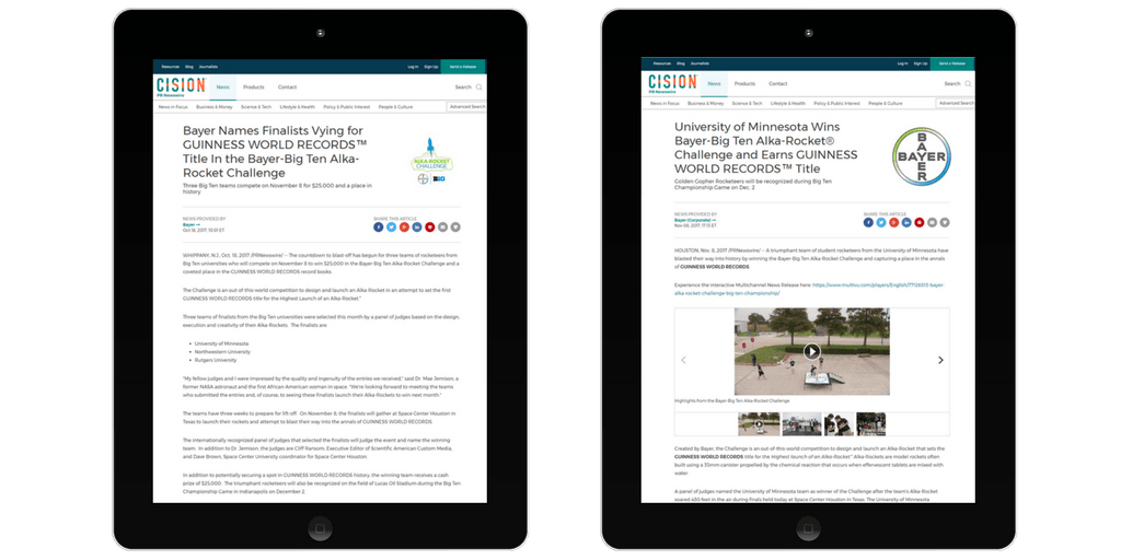 webpages on two ipads