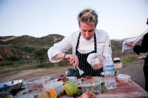 Elizabeth Falkner prepares a dish