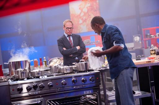 Alton Brown and contestant Marcus Samuelsson