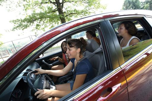 Teen Driver Girl and Passengers