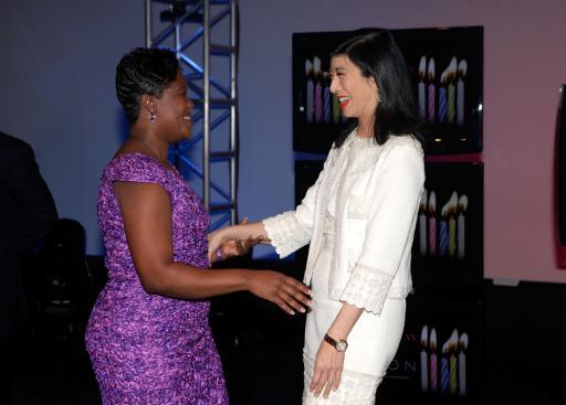 Andrea greeting an Avon Rep