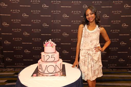 Zoe Saldana with 125th cake